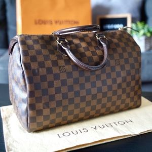 Louis Vuitton Speedy 35 Damier Ebene Satchel Bag